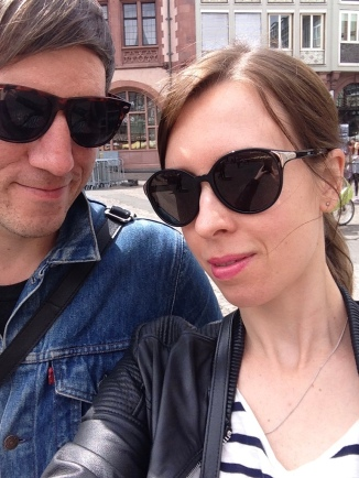 With my boyfriend in Frankfurt. I once gave him a trip to Robert Johnson for his birthday.